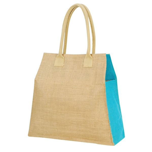 Image sur MUMBAI LEISURE JUTE BAG 1109 Naturel/Turquoise