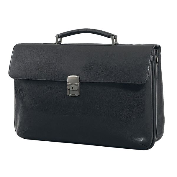 Image sur LEATHER LAPTOP BRIEFCASE 11.203.710  Black