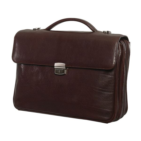 LEATHER LAPTOP BRIEFCASE 11.206.741 Dark Brown